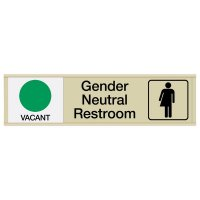 Gender Neutral Restroom Vacant/Occupied - Engraved Restroom Sliders