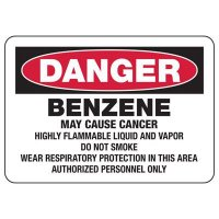 Mandatory GHS Safety Signs - Danger Benzene May Cause Cancer
