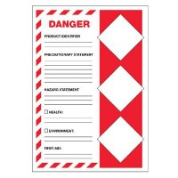 GHS Secondary Container Labels - Danger Health Environment First Aid