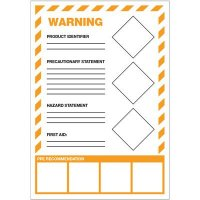 GHS Secondary Container Labels - Warning First Aid