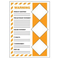 GHS Secondary Container Labels - Warning Health Environment First Aid