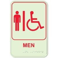 Glow In The Dark ADA Men's Handicap Restroom Sign