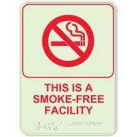Glow In The Dark Smoke Free ADA Sign