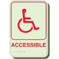 Glow In The Dark Handicap Accessible Braille Sign