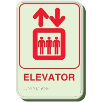 Glow In The Dark Elevator Braille Signs