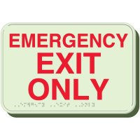 Glow In The Dark Emergency Exit Braille Sign