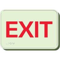 Glow In The Dark Exit Braille Sign