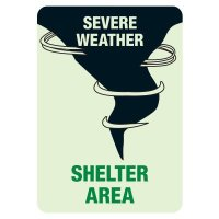 Glow In The Dark Severe Weather Shelter Area Sign