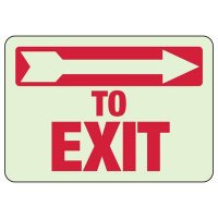 Glow In The Dark To Exit (Right Arrow) Sign