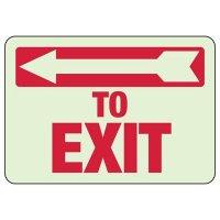 Glow In The Dark To Exit (Left Arrow) Sign