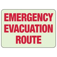 Glow In The Dark Emergency Evacuation Route Sign