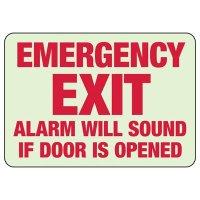 Glow In The Dark Emergency Exit Alarm Will Sound Sign