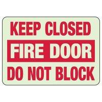 Glow In The Dark Keep Closed Fire Door Sign