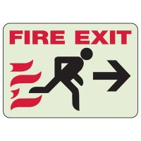 Glow In The Dark Fire Exit Sign (Right Arrow Graphic)