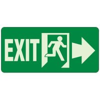 Glow In The Dark Exit To The Right Sign