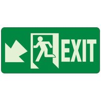 Glow In The Dark Exit Egress Sign (Exit Down)