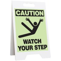 Caution Watch Your Step Glow Floor Stand