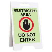 Restricted Area Do Not Enter Glow Floor Stand