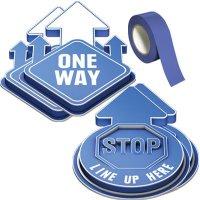 3D Social Distancing Label Kit for Hallways - Blue