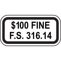$100 Fine Parking Sign