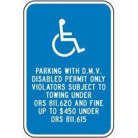 Parking With D.M.V. Disabled Permit Sign