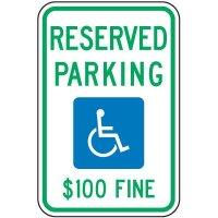 Reserved Handicap Parking $100 Fine Sign