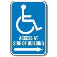 Access At Side Of Building Handicap Sign