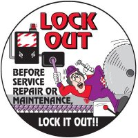 Safety Training Labels - Lock Out Before Service