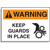 Hazard Warning Labels - Warning Keep Guards In Place (With Graphic)