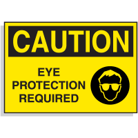 Hazard Warning Labels - Caution Eye Protection Required (with Graphic)
