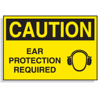Hazard Warning Labels - Caution Ear Protection Required (with Graphic)