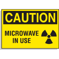 Hazard Warning Labels - Caution Microwave In Use (with Graphic)