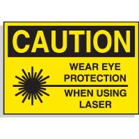 Hazard Warning Labels - Caution Wear Eye Protection When Using Laser