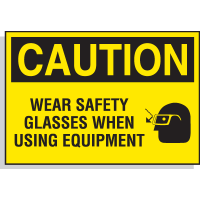 Hazard Warning Labels - Caution Wear Safety Glasses When Using Equipment (With Graphic)