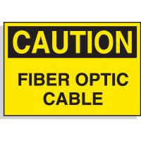 Hazard Warning Labels - Caution Fiber Optic Cable