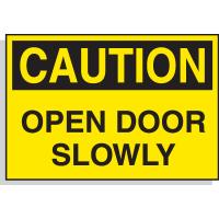 Hazard Warning Labels - Caution Open Door Slowly