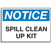 Hazard Warning Labels - Notice Spill Clean Up Kit