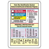 Bilingual Color Bar Chemical Hazard Identification Sign