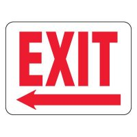 Fire Emergency Signs - Exit with Left Arrow