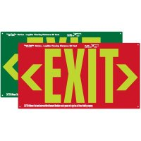 Photoluminescent Exit Sign With Double Arrow