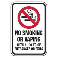 No Smoking or Vaping Within 100 Feet of Entrances/Exits Sign