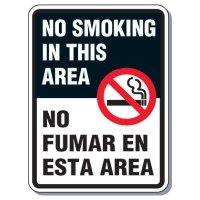 Heavy-Duty Smoking Signs - Bilingual - No Smoking In This Area/No Fumar En Esta Area