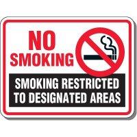 Heavy-Duty Smoking Signs - No Smoking Smoking Restricted To Designated Areas