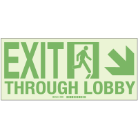 Exit Through Lobby - Hi-Intensity Photolum Door Signs - NY Approved