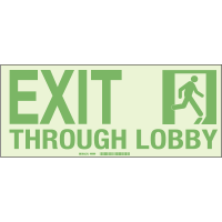 Exit Through Lobby - Hi-Intensity Photolum Door Signs - NY Approved (10Pk)