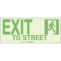 Exit To Street - Hi-Intensity Photolum Door Signs - NY Approved (10Pk)