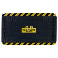 Hog Heaven™ Safety Message Anti-Fatigue Mats - Caution Lock Out Machinery