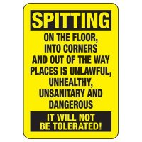 No Spitting Safety Sign