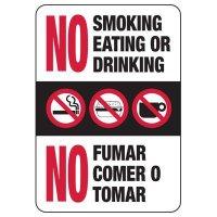 Bilingual No Smoking, Eating, or Drinking Sign