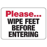 Wipe Feet Safety Sign